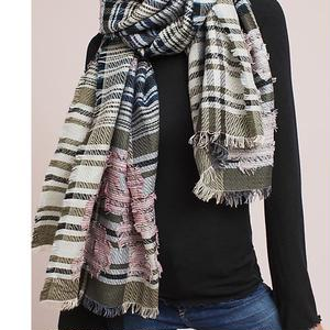 Floral Overlay Wool Scarf