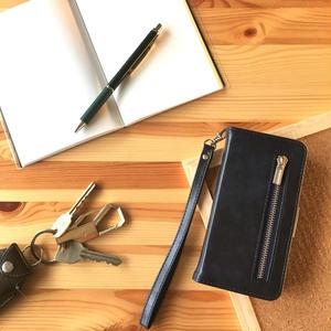 手帳型 iPhone8 8plus 7 7plus 6/6splus ケース レザー ファスナー付きポケット ネイビー