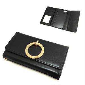 手帳型 iphone8 7 6s 6 ケース ラウンドリング ミラー付き ブラック