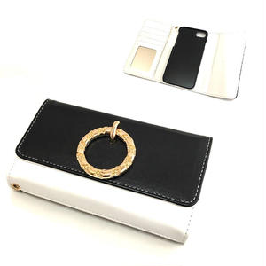 手帳型 iphone8 7 6s 6 ケース ラウンドリング ミラー付き ブラック×ホワイト