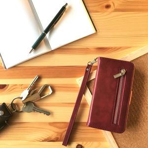 手帳型 iPhone8 8plus 7 7plus 6/6splus ケース レザー ファスナー付きポケット レッド