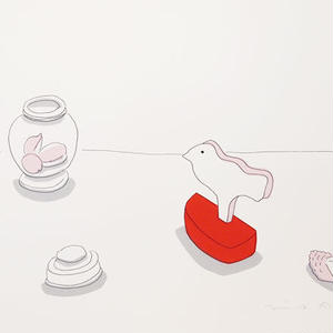 安西水丸「トリと貝殻」