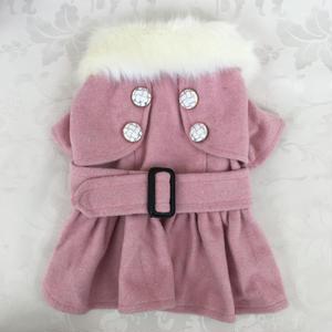 トレンチ型ファーコート ピンク