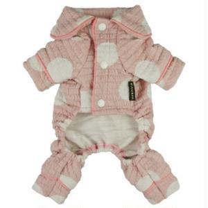 ロンパースパジャマ 襟付きドット ピンク