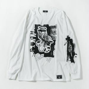 Bad Owl Long Sleeve T-shirt / WHITE