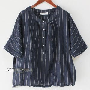 ARTE POVERA アルテポーヴェラ コットン&リネンギャザークルーシャツ #ネイビーストライプ【送料無料】