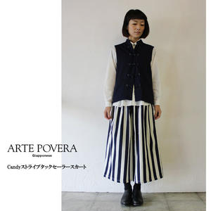 ARTE POVERA アルテポーヴェラ Candyストライプタックセーラースカート ♯濃色 【送料無料】