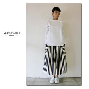 ARTE POVERA アルテポーヴェラ Candyストライプギャザリーキュロットパンツ #白x黒 【送料無料】