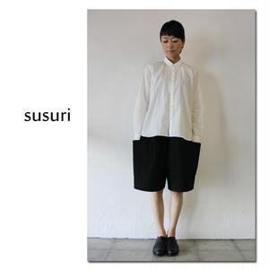 susuri ススリ コットンウェザーキルトボードショーツ # black 【送料無料】