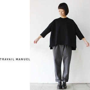 TRAVAIL MANUEL トラバイユマニュアル 度詰天竺7分袖プルオーバー #ホワイト、ブラック、ブラウン