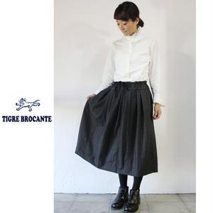 Tigre Brocante ティグルブロカンテ ウールカシミアピンプトライプスリットスカート ♯ダークグレー【送料無料】