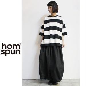 homspun ホームスパン 60/2天竺太ボーダーBIG Tシャツ ♯ブラックxオフホワイト