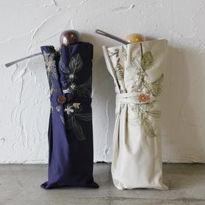 Everlasting Sprout エバーラスティングスプラウト 果実花刺繍の折りたたみ傘(晴天日傘) #ネイビー、ベージュ【送料無料】