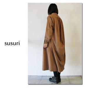 susuri ススリ ヘムレンシャツワンピース #brown,greenish black 【送料無料】