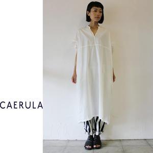 CAERULA カエルラ コットンシルクブロードフリルワンピース ♯ホワイト、グレー、スモ―キーブルー 【送料無料】