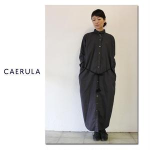 CAERULA カエルラ ブロードラピスロングシャツワンピース ♯ブラック 【送料無料】