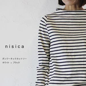 nisica ニシカ ガンジーネックカットソー #ボーダー(ホワイトxブラック)