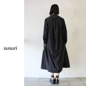 susuri ススリ ヘムレンシャツワンピース ♯geenish black 【送料無料】