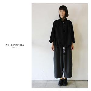 ARTE POVERA アルテポーヴェラ スイスコットンサテンバルーンシャツ #ブラック、キャメル 【送料無料】
