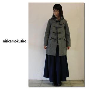 nisicamokusiro ニシカモクシロ ウールメルトンダッフルコート ♯グレー 【送料無料】