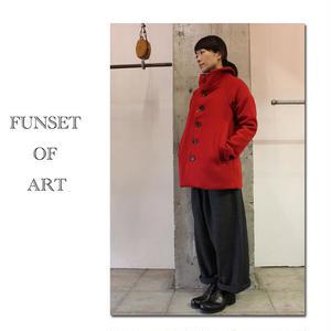 FUNSET OF ART 3本撚へリンボンMAOコート #レッド、ベージュ 【送料無料】