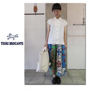 Tigre Brocante ティグルブロカンテ カンガMIXギャザースカート ♯ナチュラル、ネイビー、カーキ【送料無料】