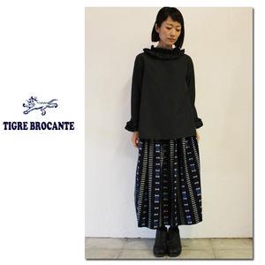 Tigre Brocante ティグルブロカンテ x 石北有美 キカガク柄ネルポケットフィセルスカート ♯ブルー 【送料無料】