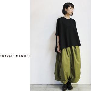 TRAVAIL MANUEL トラバイユマニュアル 強撚クール天竺ポンチョT ♯ブラック、ネイビー
