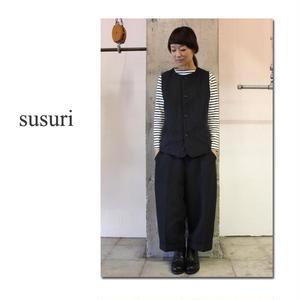 **再入荷**susuri ススリ シンプルベスト #チャコール、ブラック【送料無料】