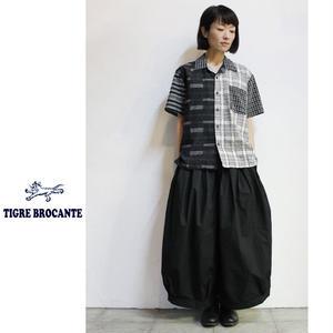 Tigre Brocante ティグルブロカンテ 刺し子パッチワークBOX半袖シャツ ♯ブラック 【送料無料】