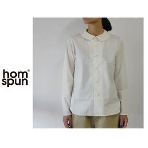 homspun ホームスパン タイプライターフラットカラーシャツ ♯サラシ、アイボリー、ネイビー 【送料無料】