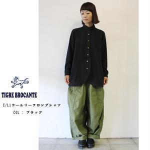 Tigre Brocante ティグルブロカンテ C/Liウールリーフロングシャツ ♯ナチュラル、ブラック 【送料無料】