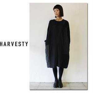HARVESTY ハーべスティ パッチワークバルーンワンピース #ブラック、ネイビー 【送料無料】