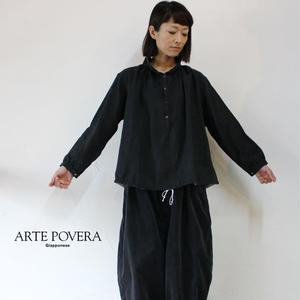 ARTE POVERA アルテポーヴェラ リネン起毛バルーンシャツ #ブラック 【送料無料】
