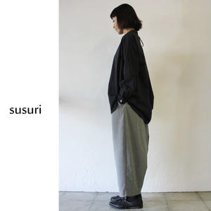 susuri ススリ ヘムレンシャツ ♯greenish black 【送料無料】