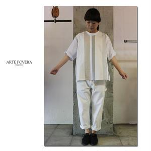 ARTE POVERA アルテポーヴェラ インディゴMIXパッチストライプクルーT ♯インディゴMIX、ホワイトMIX【送料無料】
