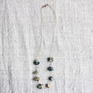 Cotton Stone Necklace (Light Indigo)
