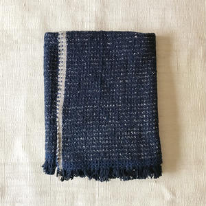 Gara-bou Blanket Stole Kabe 100×190cm (Indigo Pin Border)