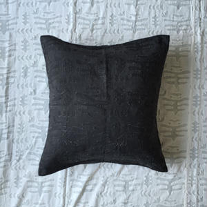 Khadi Cutwork Cushion Cover Alder Dye (Seaweed)