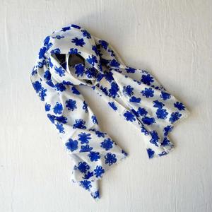 #150 Khadi Badala Flower Print Stole 55×180 (Blue)