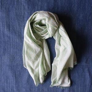 Cotton Silk Khadi Stole (Green Stripe)