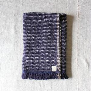Gara-bou Blanket Stole 1ply 100×190cm (Indigo Pin Border)