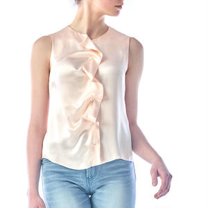 SILK SLEEVELESS BLOUSE - PINK BEIGE