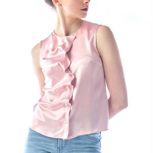 SILK SLEEVELESS BLOUSE - ROSE PINK