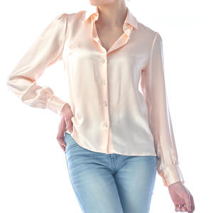 SILK LONG SLEEVES BLOUSE - PINK BEIGE
