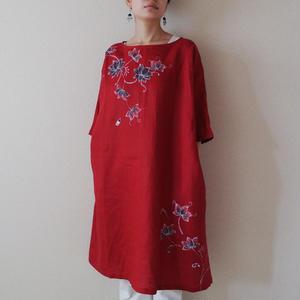 ワンピース・赤 更紗の蓮