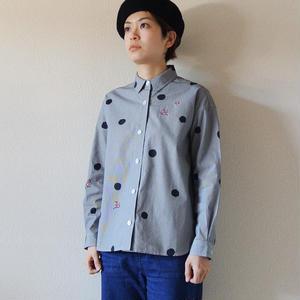 ギンガムチェックシャツ <水玉と梅>