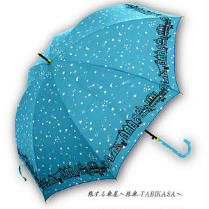 【風速25mまで耐える】傘専門店 通販 東京 雨傘 ワンタッチ ジャンプ グラスファイバー サビない 旅傘【耐風 夜空と街 Sax】