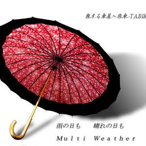 UVカット93% 傘専門店 通販 東京 雨傘 晴雨兼用 日傘 雨傘  サビにくい 黒骨 旅傘【 満開の桜 24本骨 エンジ色 】