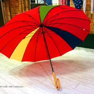 36本限定生産 傘専門店 通販 東京 雨傘 オリジナル メンズ レディース グラスファイバー サビない 超軽量 旅傘【3駒 紅-黄/紺/緑】